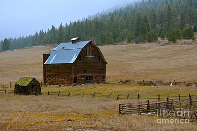 Old Wooden Barn With Wooden Silo Print by Lisa  Telquist