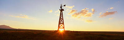 Farm Scene Photograph - Old Wooden Windmill At Sunset, Pie by Panoramic Images