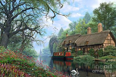 Swans.. Digital Art - Old Woodland Canal by Dominic Davison