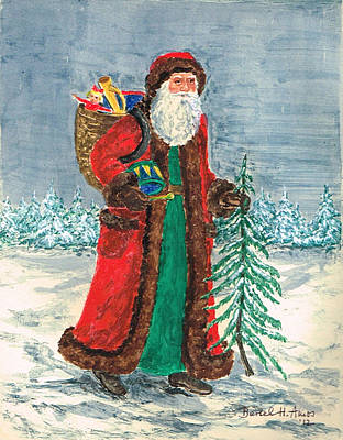 Old World Father Christmas 5 Print by Barbel Amos