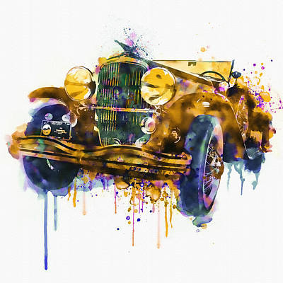 Digital Mixed Media - Oldtimer Automobile In Watercolor by Marian Voicu