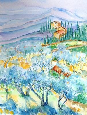 Olive Groves Of Cozille Tuscany  Original by Trudi Doyle