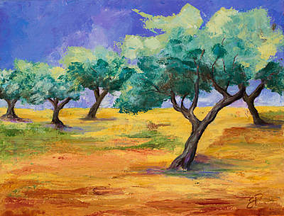Farm Fields Painting - Olive Trees Grove by Elise Palmigiani