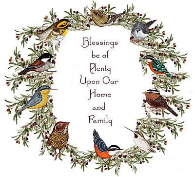 Warbler Digital Art - Olive Wreath Of Little Birds Blessings by Alexandra  Sanders