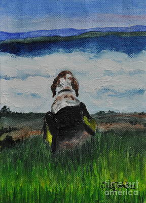 Cocker Spaniel Painting - Oliver And Greyock Scenic Veiw by Sally Rice