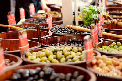 Olives In Barrels Print by Ivy Ho