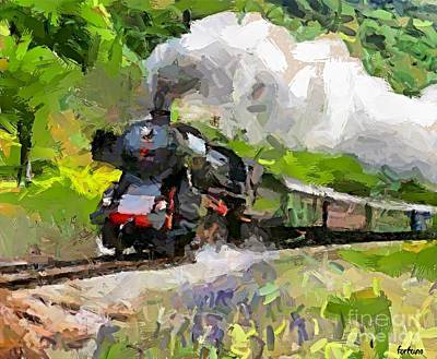 Train Painting - Oltimer Train On Transalpine Railway by Dragica  Micki Fortuna