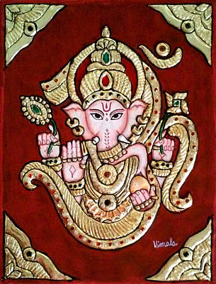 Tanjore Painting - Om Ganesh In Tanjore Art by Vimala Jajoo