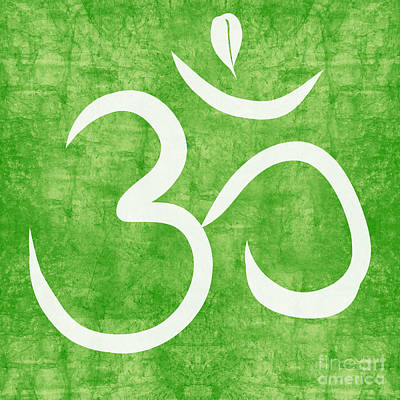 Yoga Painting - Om Green by Linda Woods