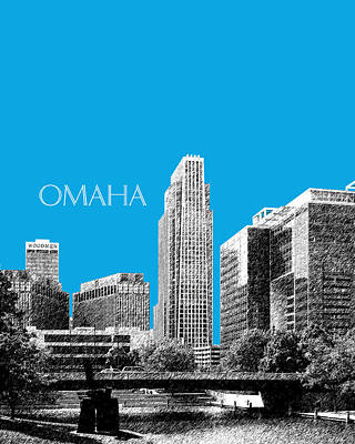 Omaha Skyline - Ice Blue Print by DB Artist
