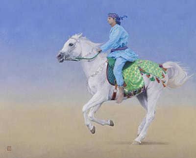 Sprinting Painting - Oman Cavalryman by Emma Kennaway