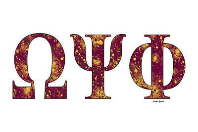 Omega Psi Phi - White Print by Stephen Younts