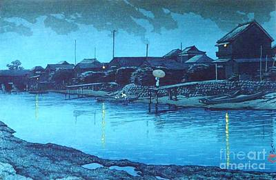 Omori Beach At Night Print by Pg Reproductions