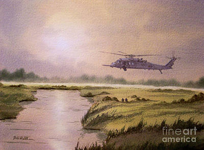 Helicopter Painting - On A Mission - Hh60g Helicopter by Bill Holkham