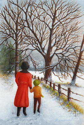 Snowscape Painting - On A Wintry Walk With Gran by Lora Duguay