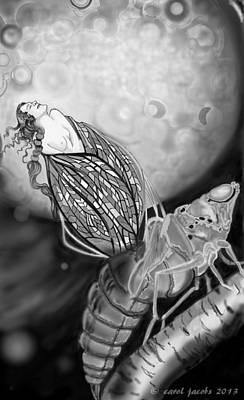Moon Digital Art - On Becoming by Carol Jacobs