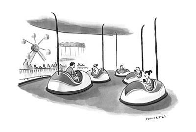 Amusement Park Drawing - On Bumper Cars by Drew Panckeri