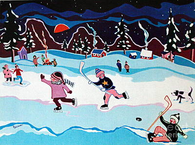 Hockey Painting - On Frozen Pond by Joyce Gebauer