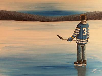 On Frozen Pond -  Winter Classic 2014 Print by Ron  Genest