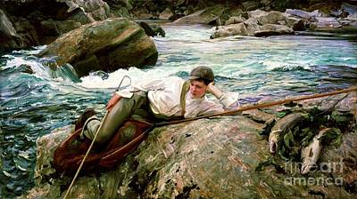 Salmon Painting - On His Holidays by Pg Reproductions