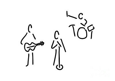 On Stage With Guitar And Percussion Print by Lineamentum