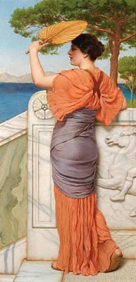 John William Godward Painting - On The Balcony by John William Godward