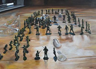 Toy Soldiers Painting - On The Beach by Cathal Gallagher
