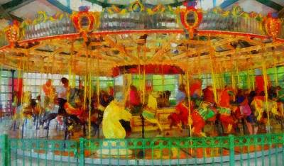 Amusements Mixed Media - On The Carousel by Dan Sproul
