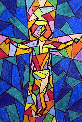Jesus Christ Icon Painting - On The Cross by Matthew Doronila