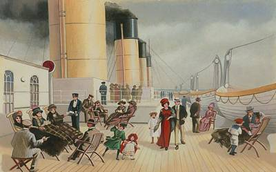 On The Deck Of The Titanic Print by English School