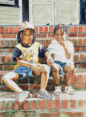 African-american Painting - On The Front Step by Colin Bootman
