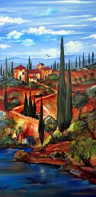 Italy Farmhouse Painting - on the hills of Tuscany by Roberto Gagliardi