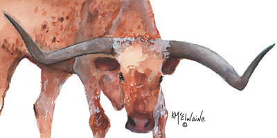 On The Level Texas Longhorn Watercolor Painting By Kmcelwaine Print by Kathleen McElwaine