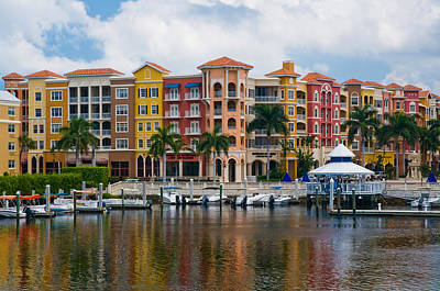 Boats And Shopping On The  Naples Waterfront Print by Ginger Wakem