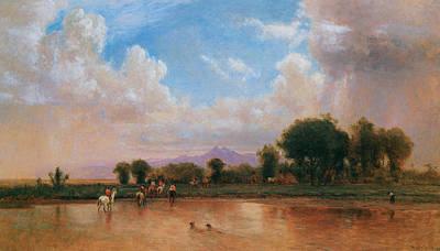 On The Plains Cache La Poudre River Print by Thomas Worthington Whittredge