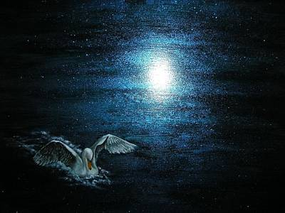 Swans... Painting - On The Pond At Midnight by Affordable Art Halsey