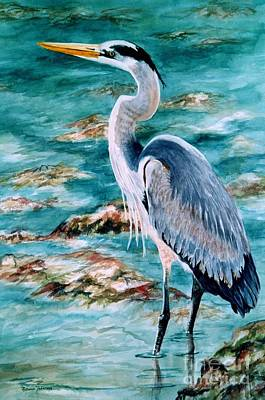 On The Rocks Great Blue Heron Print by Roxanne Tobaison