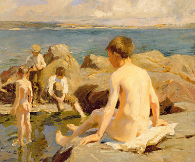 Boys Swimming Painting - On The Rocks Near Newlyn by Harold Harvey