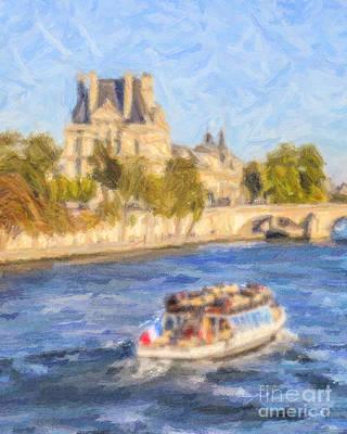 France Digital Art - On The Seine by Liz Leyden