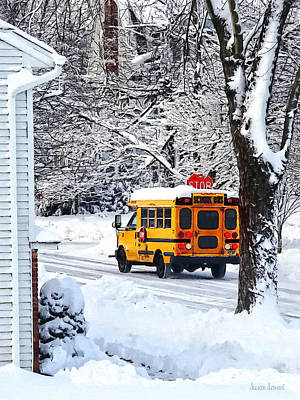 Buses Photograph - On The Way To School In Winter by Susan Savad