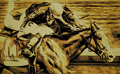 Racetrack Digital Art - On The Whip by Alice Gipson