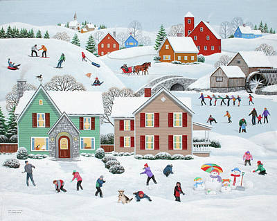Snowball Fights Painting - Once Upon A Winter by Wilfrido Limvalencia