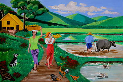 Nipa House Painting - One Beautiful Morning In The Farm by Lorna Maza