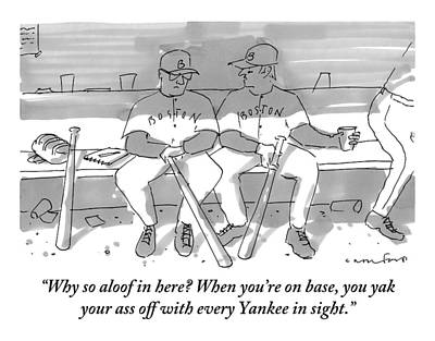 Yak Drawing - One Boston Red Sox Player Addresses Another by Michael Crawford