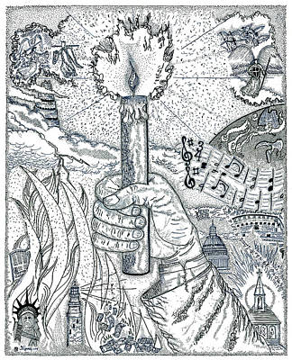 Babel Drawing - One Candle by Glenn McCarthy Art and Photography