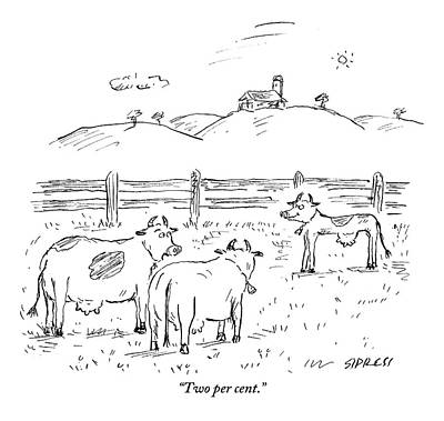 One Cow To Another Print by David Sipress