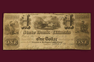 Debt Digital Art - One Dollar Bill 1810 Il Mich Canal Fund by Thomas Woolworth
