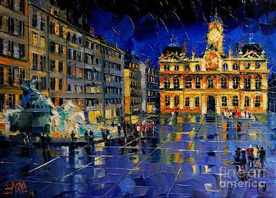 Rainy Night Painting - One Evening In Terreaux Square Lyon by Mona Edulesco