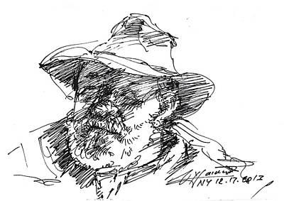 Sketch Drawing - One Eyed Man by Ylli Haruni