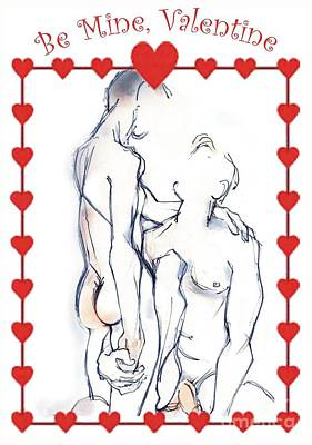 Couple Mixed Media - One For The Boys - Valentine's Day Card by Carolyn Weltman